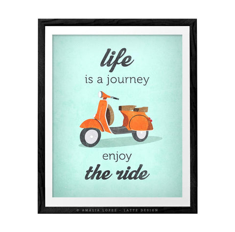 Life is journey enjoy the ride. Blue print - Latte Design  - 1