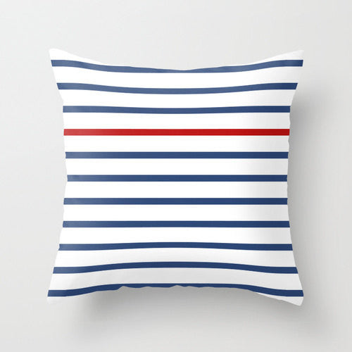 Navy blue striped nautical pillow - Latte Design  - 1