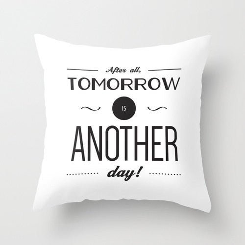 After all tomorrow is another day. Cream Gone with the wind quote pillow - Latte Design  - 3
