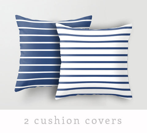 Set of 2 Nautical cushions. Navy blue and white stripes cushions - Latte Design  - 1