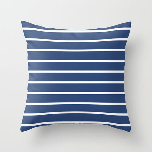 Set of 2 Nautical cushions. Navy blue and white stripes cushions - Latte Design  - 2