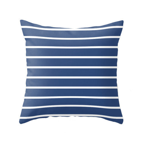 Navy blue and white striped nautical pillow - Latte Design  - 1