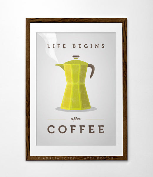 Life begins after coffee print. Teal kitchen print - Latte Design  - 2
