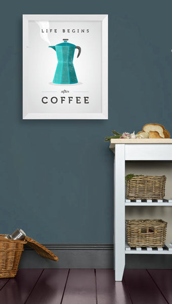 Life begins after coffee print. Teal kitchen print - Latte Design  - 3