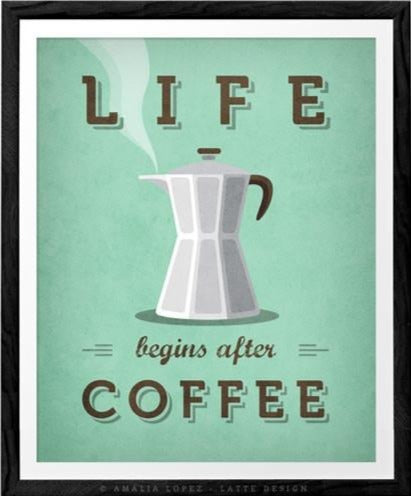 Life begins after coffee print. Mint teal kitchen print - Latte Design  - 1