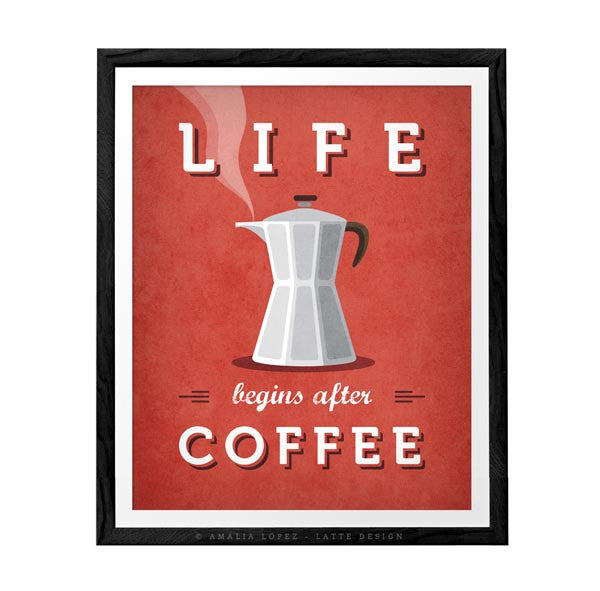 Life begins after coffee print. Chartreuse green kitchen print - Latte Design  - 4