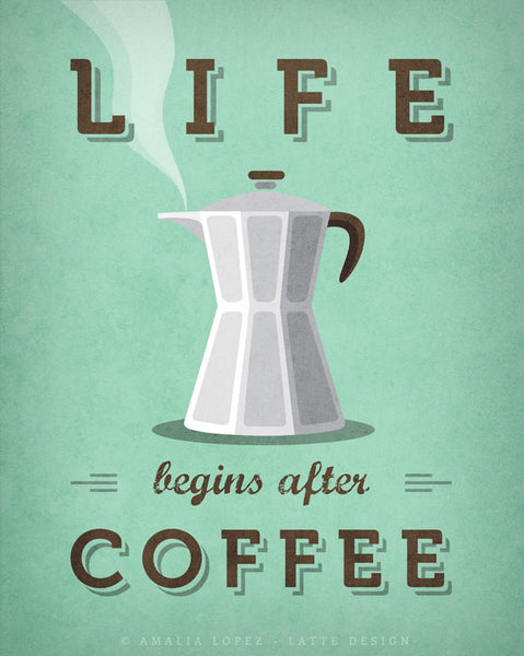 Life begins after coffee print. Mint teal kitchen print - Latte Design  - 5