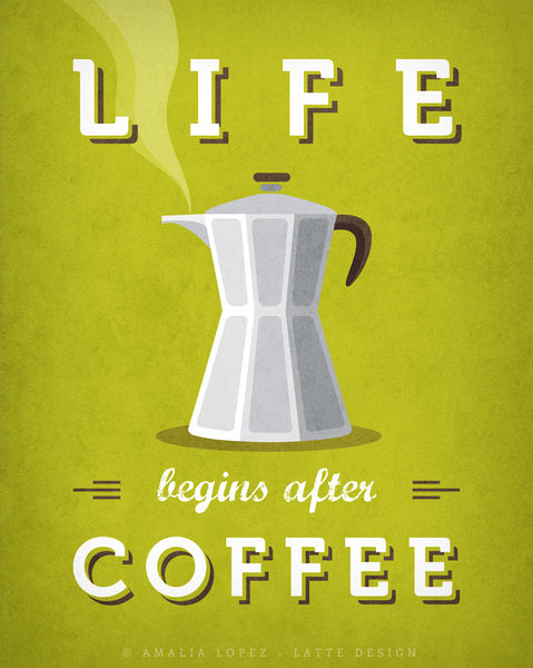 Life begins after coffee print. Chartreuse green kitchen print - Latte Design  - 5