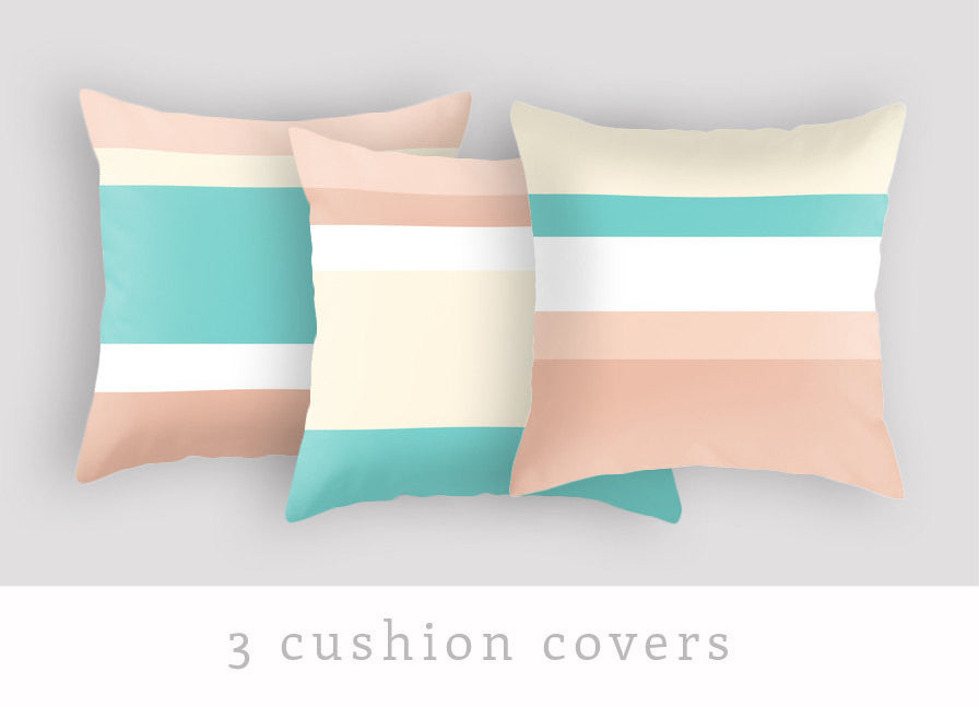 Set of 2 stripes cushions - Latte Design  - 1