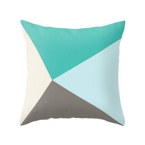 Teal and brown geometric cushion - Latte Design