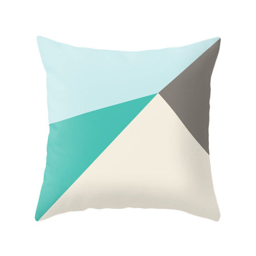 Set of 2 geometric teal and brown cushions. - Latte Design  - 2