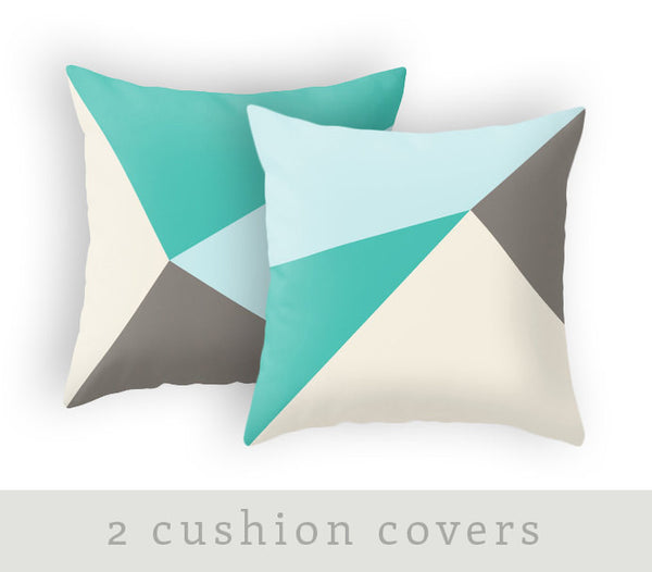 Set of 2 geometric teal and brown cushions. - Latte Design  - 1