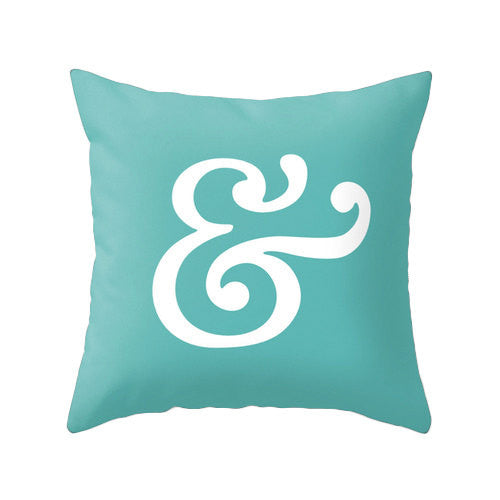 Ampersand pillow. Turquoise typography pillow - Latte Design  - 1