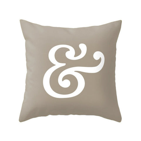 Ampersand pillow. Taupe typography pillow - Latte Design  - 1