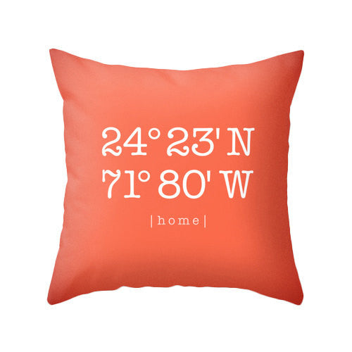 Custom coordinates pillow Personalized cushion cover housewarming gift latitude and longitude pillow coral wedding gift home location - Latte Design  - 2