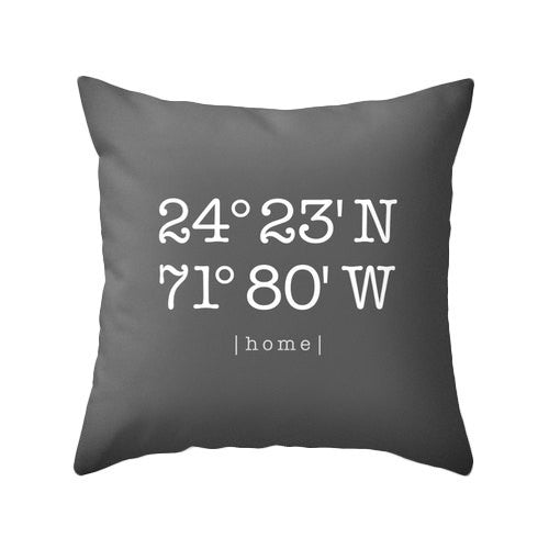 Custom coordinates pillow Personalized cushion cover housewarming gift latitude and longitude pillow coral wedding gift home location - Latte Design  - 3