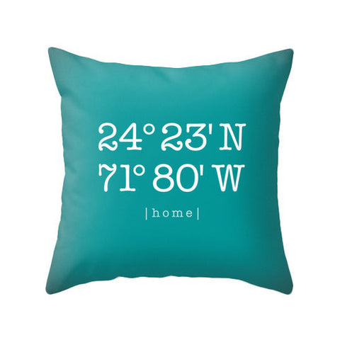 Personalized housewarming gift Custom home location pillow cover Teal personalized cushion Teal housewarming latitude and longitude teal - Latte Design  - 1