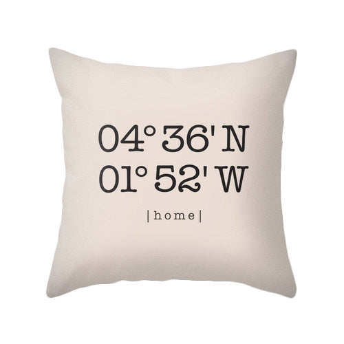 Custom coordinates pillow Personalized cushion cover housewarming gift latitude and longitude pillow coral wedding gift home location - Latte Design  - 1