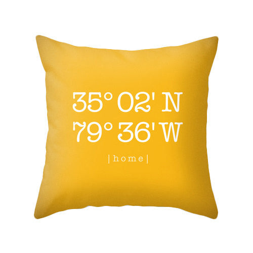 Yellow Custom home location pillow - Latte Design  - 1