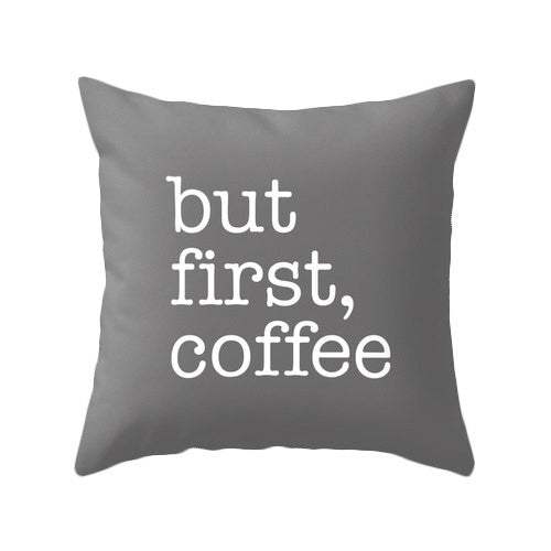 But first coffee black typography pillow - Latte Design  - 3