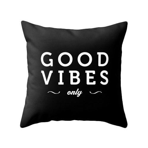 Good vibes only pillow. Black and white typography pillow - Latte Design  - 1