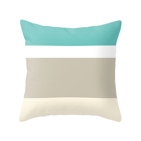 Striped throw pillow - Latte Design  - 1