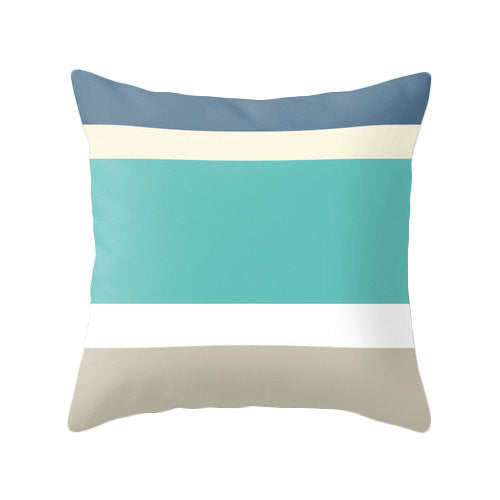 Set of 2 cushions. Strpiles teal, blue, taupe and cream - Latte Design  - 2