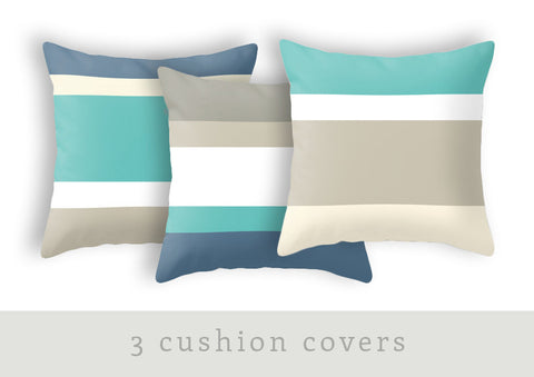 Set of 3 stripes cushions - Latte Design  - 1