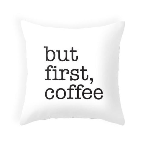 But first coffee black typography pillow - Latte Design  - 1