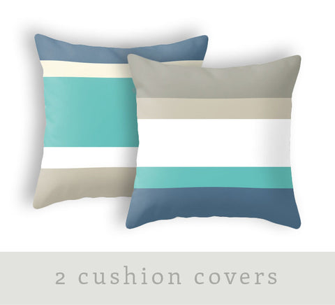 Set of 2 cushions. Strpiles teal, blue, taupe and cream - Latte Design  - 1