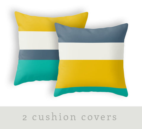 Set of 2 stripes yellow, teal and blue cushions - Latte Design  - 1