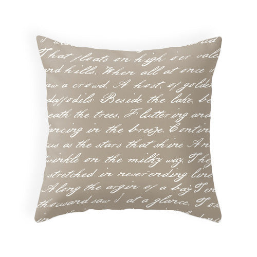 White and taupe handwriting poem cushion - Latte Design