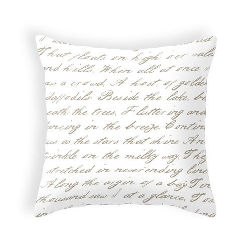 White and taupe handwriting poem pillow - Latte Design  - 1