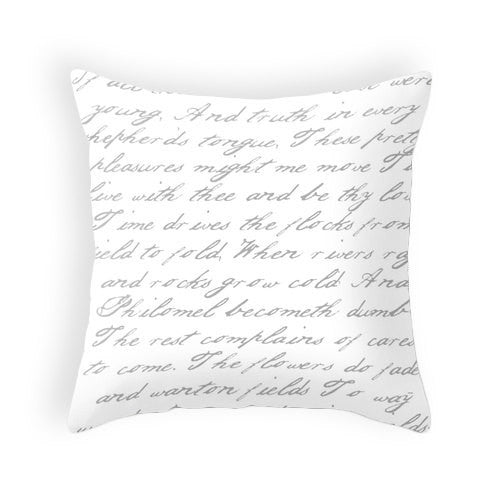 Gray and white handwriting poem pillow - Latte Design  - 2