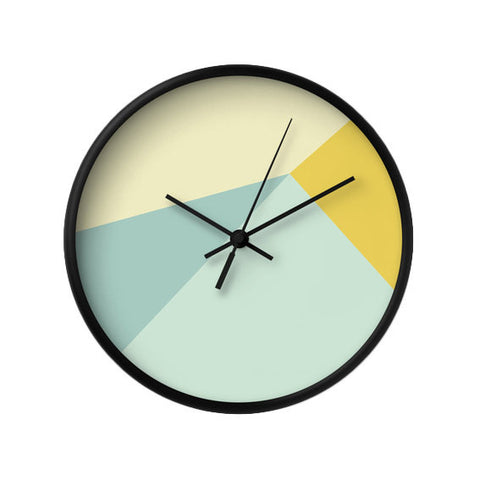 Mint and yellow geometric wall clock - Latte Design