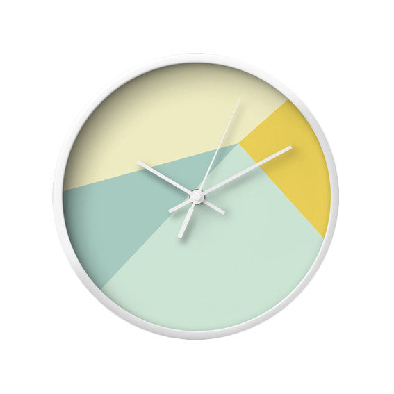 Mint and yellow geometric wall clock - Latte Design  - 3
