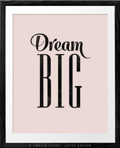 Dream big. Baby pink nursery print - Latte Design  - 1