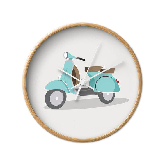Green Vespa nursery wall clock - Latte Design  - 4