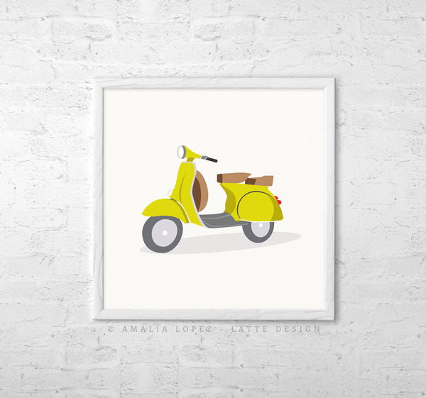 Turquoise vespa print. Illustration print - Latte Design  - 3