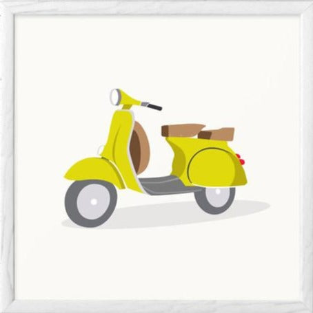 Green vespa print. Illustration print - Latte Design  - 1