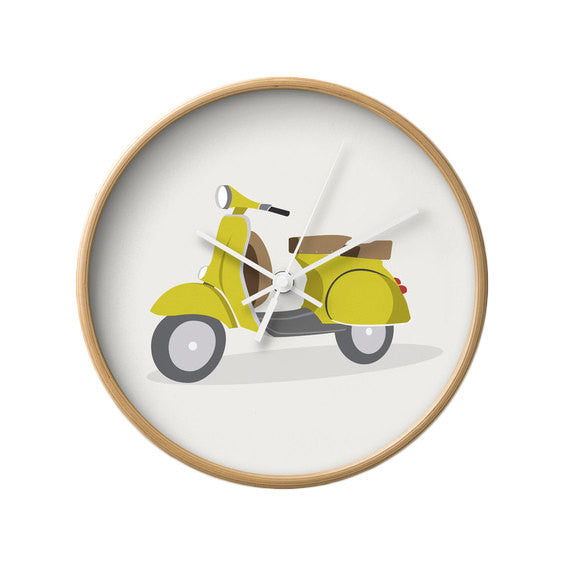 Red Vespa nursery wall clock - Latte Design  - 4