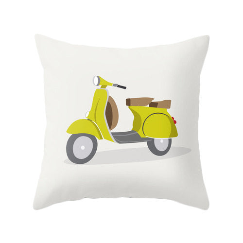 Turquoise bike nursery pillow - Latte Design  - 2