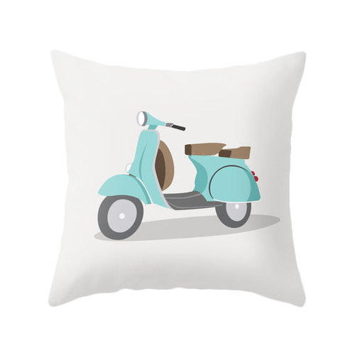 Turquoise bike nursery pillow - Latte Design  - 1