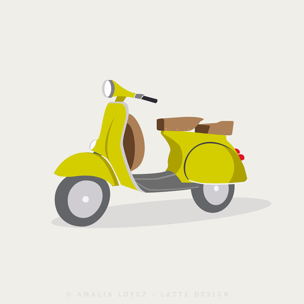 Green vespa print. Illustration print - Latte Design  - 4
