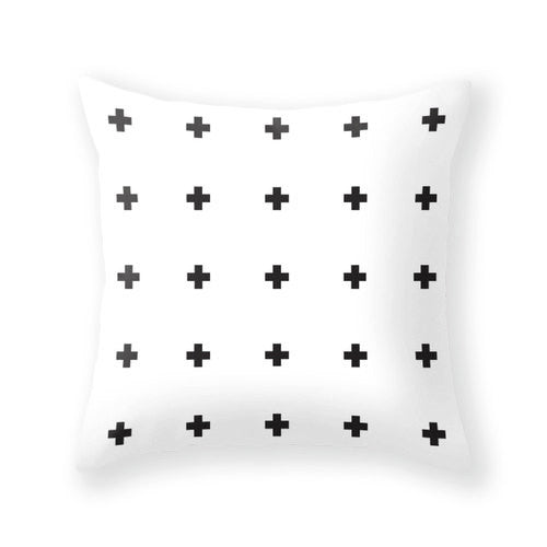 TWO combined cross pillow covers. Black and white crosses pillow black and white cushion black and white pillow cross cushion cross throw - Latte Design  - 3
