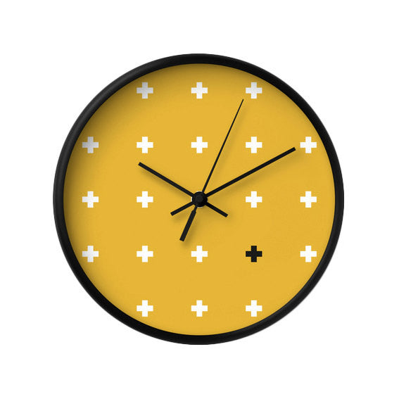 Teal Swiss Cross wall clock - Latte Design  - 3