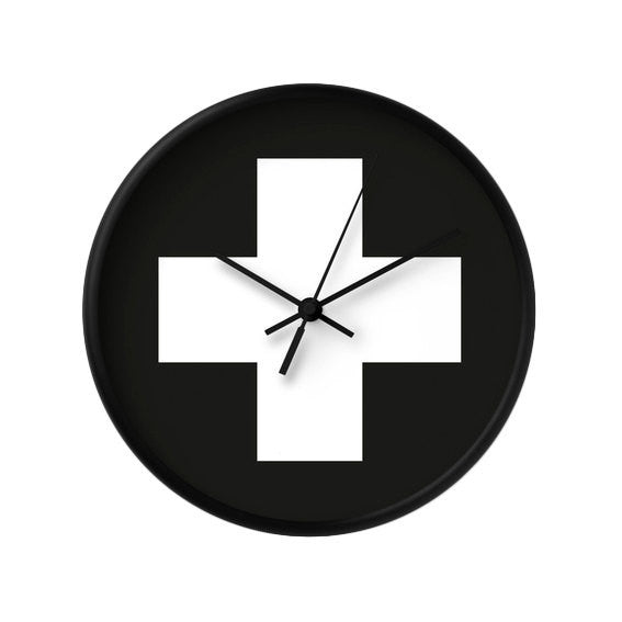 Swiss cross black and white wall clock - Latte Design  - 2