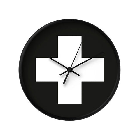 Black and white Swiss cross wall clock - Latte Design