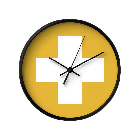 Yellow Swiss cross wall clock - Latte Design  - 1
