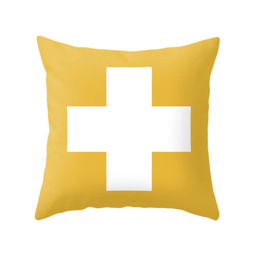 Yellow Swiss cross cushion - Latte Design